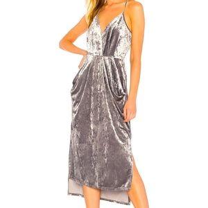 BCBGeneration midi faux velvet wrap dress